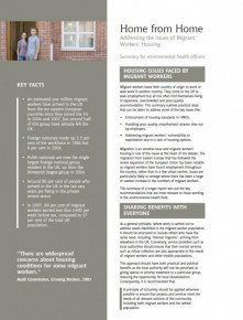 Home from Home: Summary for environmental health officers